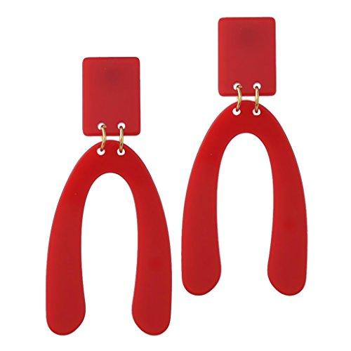 sharprepublic Pendientes Colgantes En Forma De U Invertidos Acrílicos Geométricos Generosos De Moda - Rojo