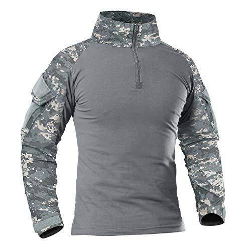 KEFITEVD Combat Shirt Herren Military Shirt Männer Flecktarn T-Shirt Langarm Airsoft Oberteil Taktischer Pullover Arbeitsshirt Ripstop Softair Ausrüstung Armee Shirt ACU XL
