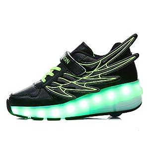 LED Luces Patines Alas Zapatos Calzado de Skateboarding Deportes de Exterior Brillante Aire Libre y Deporte Gimnasia Running Zapatillas para Pequeños Niños Niña,Black,30