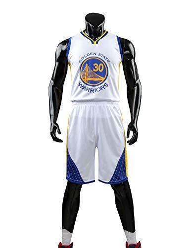 HS-XP Chicas para Niños Hombres Adultos De Baloncesto Set - Golden State Warriors # 30 Stephen Curry NBA Baloncesto Entrenamiento Sin Mangas Y Pantalones Cortos De Verano,Blanco,3XL(Adult) 175~180CM