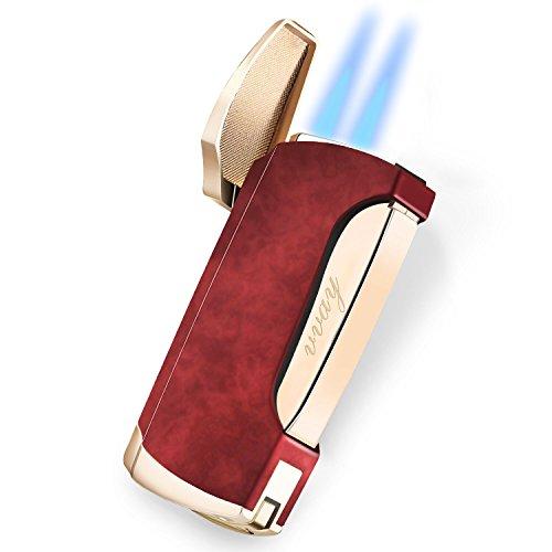 VVAY Sturmfeuerzeug Jetflamme, Jet Zigarren Feuerzeuge, 2 Flamme Sturm Zigarrenfeuerzeug Jetflame Gas Butane Nachfüllbar mit Bohrer (Verkauft ohne Gas)