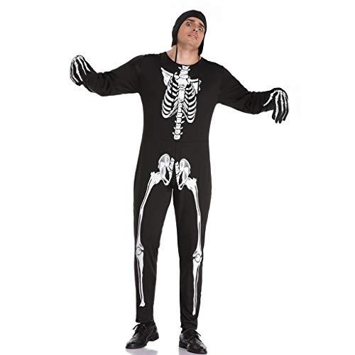 0-0 Halloween, carnaval, paashaas, heren, zwart, doodshoofd, kostuum, cosplay party
