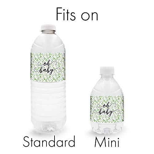Greenery Baby Shower Water Bottle Labels 24 Stickers