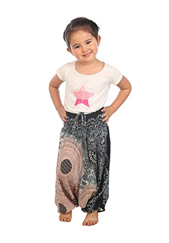 Lofbaz Mädchen Kinderhose Haremshose Jumpsuit Blumenmuster Weiß Größe 2T