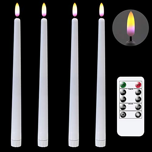 DRomance 11' Flameless Window Taper Candles with 10-Key Remote and Timer, Battery Operated White Set of 4 Realistic 3D Black Wick Purple Light LED Flickering Smooth Candles Christmas Decoration
