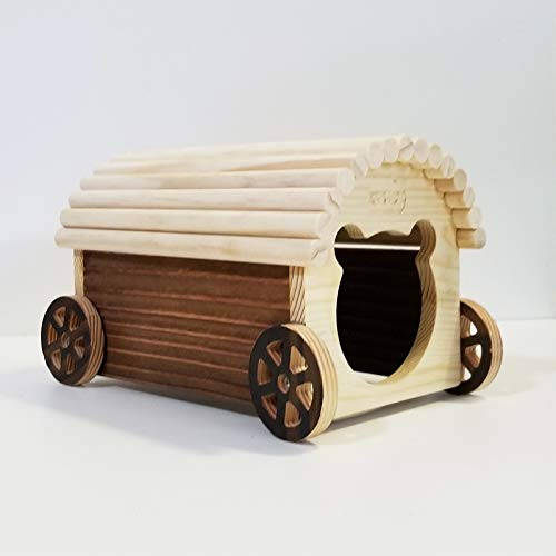 Willlly Hölzernes Autohaus Igelhaus Holz Mit Boden Spielzeug Igelhütte Hamster Chalet Winterfest Mit Boden (Color : 1, Size : 25x15x15)