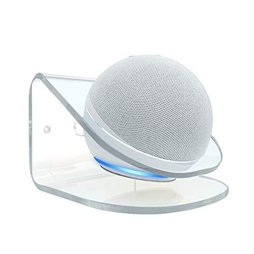TUTUO Supporto per Echo DOT (4ª Generazione), Robusto Trasparente Supporto a Muro per Echo DOT 4a Generazione, Accessori per Altoparlante Intelligente con Alexa