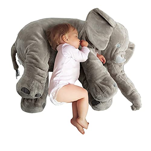 AGLOAT Baby Elefant Kissen, Lagerungskissen Baby, Lagerungskissen, Stillkissen, Kopfkissen Kleinkind, Schwangere Frauen Kissen, Kinderzimmer Dekoration,Grey-40CM