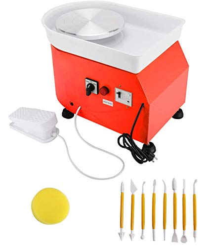 Orange Color Pottery Wheel Machine 25cm (9.8'') 350W Electric Ceramic Work Forming Machine with Foot Pedal and Clay Art Craft Shaping Tools