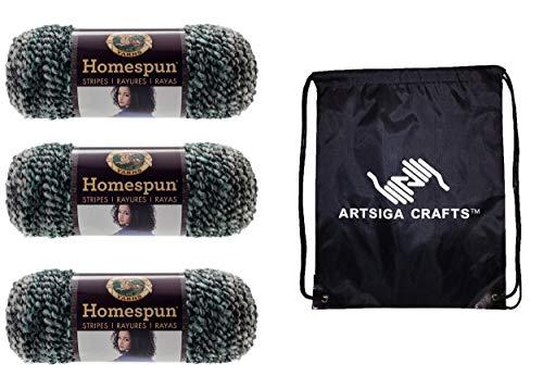 Lion Brand Knitting Yarn Homespun Stonewashed Stripes 3-Skein Factory Pack (Same Dye Lot) 790-239 Bundle with 1 Artsiga Crafts Project Bag -  MPN-790-239