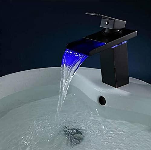 SDKFJ Grifo de Cascada LED de aletreo Antiguo, Grifo de Lavabo de baño, Mezclador de Fregadero con Dos PCS plombard Hoses Agua Grifo (Color : Black Short)