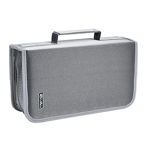 Siveit 128 Capacity CD/DVD Case Wallet, Binder, Storage, Holder, Booklet for Car, Home, Office and Travel (Silver)