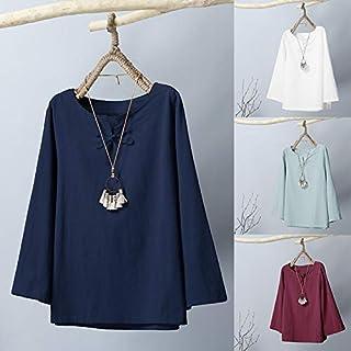 Explopur Vintage Blouse,Vintage Women Autumn Solid Color Blouse Cotton Linen V Neck Long Sleeve Button Plus Size Loose Casual Top