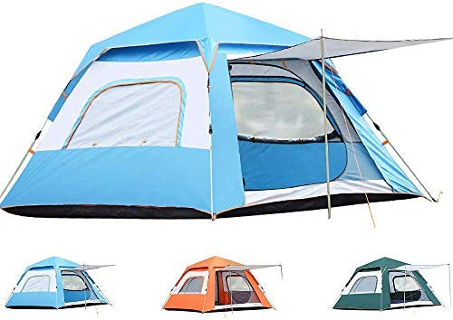 WY-YAN 3-4 People Camping Tent - Fully automatic Outdoor Sun Shelter Instant Cabana Portable Waterproof Shade Canopy for Family Vacation (Color : Blue)