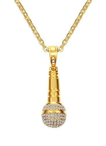 Stainless Steel Iced out Cubic Zirconia CZ Music Karaoke Singer Microphone Pendant Necklace with Chain,Gold Plated