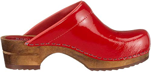 Sanita Damen Classic Patent open Clogs, Rot (red 4), 40 EU