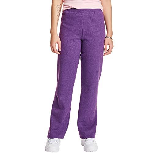 Hanes Women's Petite EcoSmart Open Bottom Leg Sweatpants, Violet Splendor Heather, XX-Large