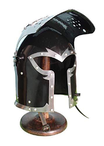 Barbuta Viking Knight Helmet | Black Medieval Visored Barbute Helm Armor SCA LARP Replica