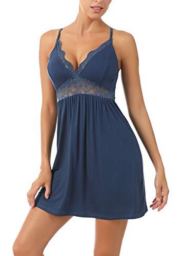 KOWENTIK Damen Nachthemd Negligee Sexy Nachtwäsche Spitze Tiefer V-Ausschnitt Nachtkleid Lingerie Dessous Ärmellos Rückenfrei (Blau, XL)