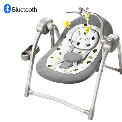 Heay Newborn-to-Toddler Rocker, New-Born Baby Bouncer and Can be Used As a Baby Chair, Folded Rocker Swing with Adjustable Backrest,Bluetooth USB Music, Suitable from Birth (Color : Gray)