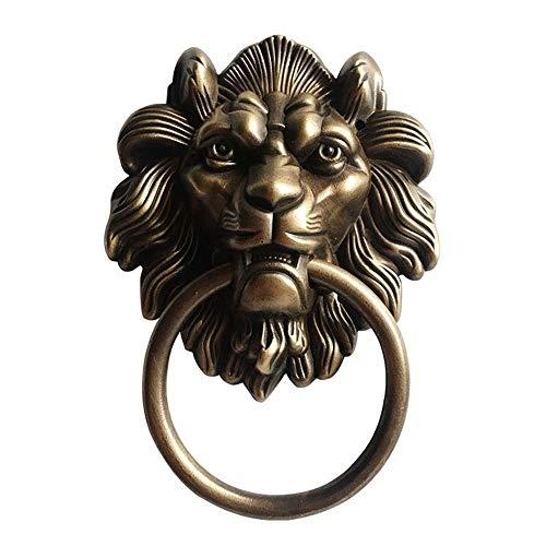 Llamador de la Puerta Aldaba Bestia Jefe León Cobre Tire Tire puerta retro anillo decorativo Accesorios de puerta para la Decoración de la Puerta Delantera ( Color : Multi-colored , Size : Free size )