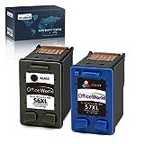 OfficeWorld Remanufacturé HP 56XL/57XL Cartouches d'encre(1 Noir, 1 Tri-couleur) Compatible pour HP...