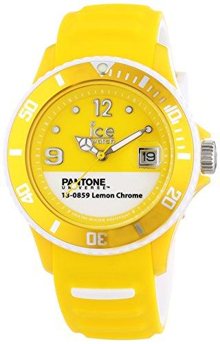 ICE-Watch - PAN.BC.LEC.U.S.13 - Pantone Universe - Lemon Chrome - Montre Mixte - Quartz Analogique - Cadran Jaune - Bracelet Silicone Jaune