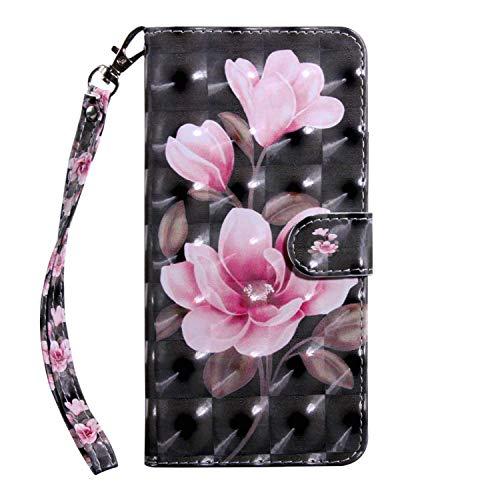 vingarshern Hülle für HTC Desire 19+ Schutzhülle Tasche Etui Klappbares Magnetverschluss Lederhülle Flip Hülle Handytasche HTC Desire 19 Plus Hülle Leder Brieftasche MEHRWEG(Magnolie-1)