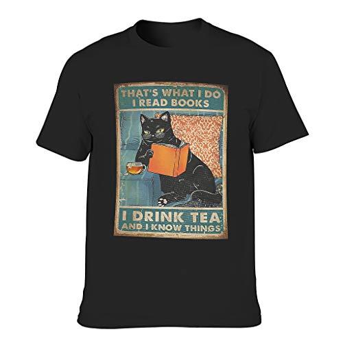 Camiseta de manga corta para hombre con diseño de gato negro y texto en alemán 'Ich lese Libros Trinke ich Tee Ich weiß Dinge Print Tribal Workwear Negro XL
