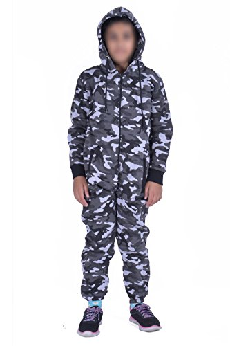 MyMixTrendz Kids Army Camo Print Onesie Hooded Jumpsuit All In One Boys Girls Fleece Tracksuit Age 7-13