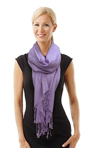 Paskmlna Beautiful Solid Colors Luxurious Pashmina Scarf Perfect Party Favor (deep Lavender #65)