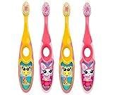 Jordan ® | Step 2 Spazzolino da denti Bambini | Spazzolino per bambini di età 3-5 anni | Setole morbide, doppio manico ergonomico e senza BPA | Colore Rosa & Giallo | Confezione 4 unità