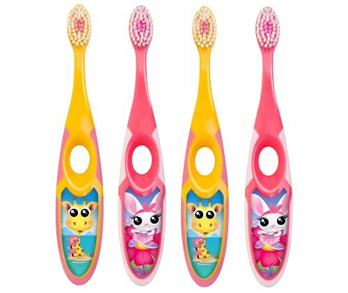 Jordan* | Step 2 | Cepillo de dientes para niños de 3 a 5 años | Cepillo de dientes para niños con cerdas suaves, mango ergonómico doble y sin BPA | Color rosa y amarillo | Pack de 4 unidades