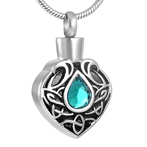 WJDT Colgante del Colgante de la cremación del corazón del Acero Inoxidable de la Vendimia el Collar de la urna de la Mujer de la Mujer y el Hombre-Solo Colgante de 5pcs_Piedra Verde