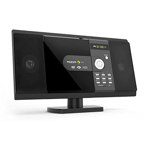 auna MCD-82 - Kompaktanlage, Stereoanlage, Microanlage, CD-, DVD-Player, MP3-fähiger USB-Port, SD-Slot, UKW Tuner, 50 Senderspeicher, auch zur Wandmontage, Fernbedienung, schwarz