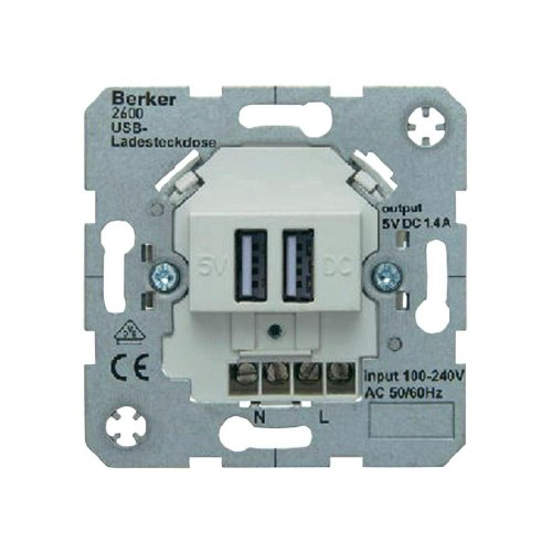 Berker 260009 USB-Ladesteckdose 230 V Hauselektronik polarweiß matt