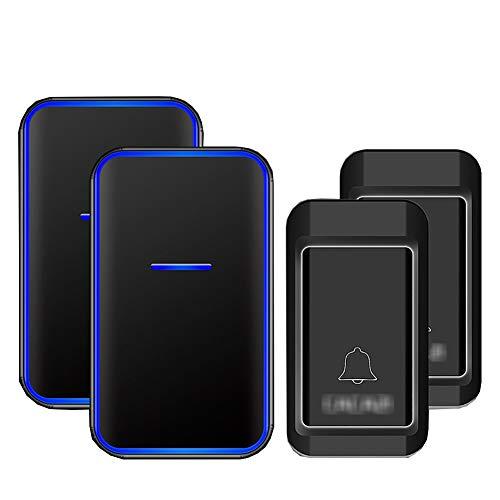 Geen batterijen nodig Draadloze deurbel, waterdichte draadloze plug-in deurbellen met 38 ringtones 3 niveaus volume en flitser (2 drukknop + 2 ontvanger),Black