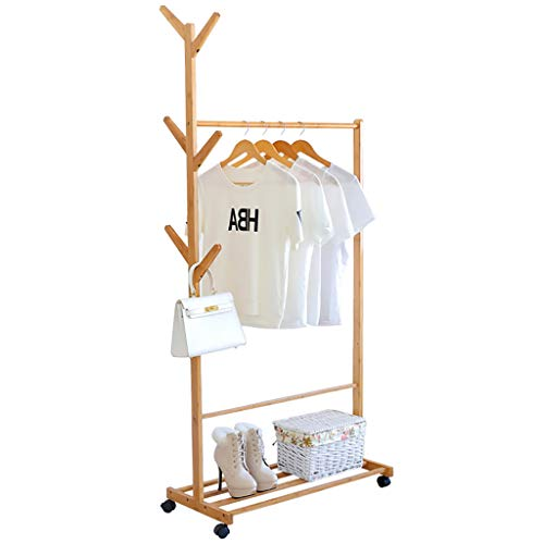 CQ-YMJ Garderobe Multifunctionele Bamboo Free Standing Kapstok met bovenste stang, 6 mobiele planken stabiel