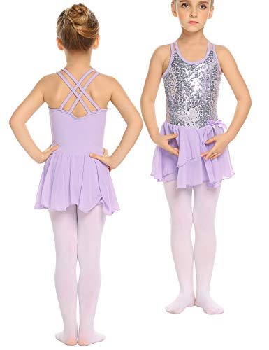 trudge Mädchen Kleid Ballettkleid Kinder Ballett Trikot Ballettanzug mit Tütü Röckchen Pailletten Kleid Shiny Sparkle Fairy Party Fancy Costume