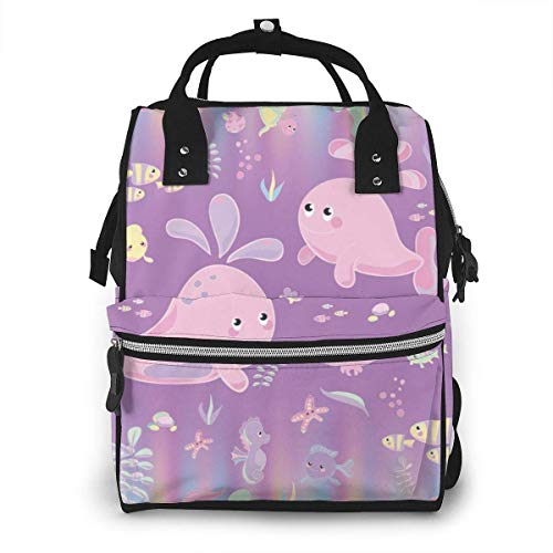 UUwant Sac à Dos à Couches pour Maman Large Capacity Diaper Backpack Travel Manager Baby Care Replacement Bag Nappy Bags Mummy Backpack,(Cute Pink Whale Baby