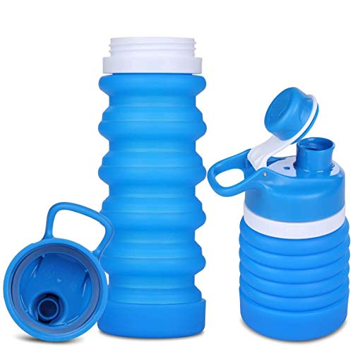 SOULBEST Botella de Agua Plegable Botella de Agua Plegable a Prueba de Fugas Botella de Bebida Plegable de Silicona portátil para Deporte Senderismo Ciclismo Acampada BPA Gratis 550 ml (Azul)