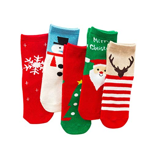 TOYANDONA 5 pares de calcetines navideños para niños calcetines cálidos de invierno con patrón de elementos navideños de algodón fiesta de navidad favorece regalos tamaño rojo xl