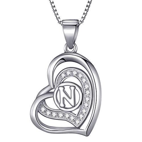 Morella Collana donna a forma di cuore lettera N con zirconi bianchi 46 cm argento 925 rodiato