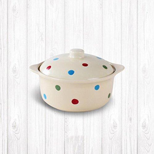 MXJ61 Wave Point Céramique avec Couvercle Soupe Bowl Home Salad Bowl Vaisselle Lovely Face Bowl Dessert Bowl Soup Basin 400ml (Couleur : Beige)