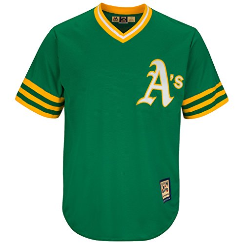 Oakland Athletics Cooperstown Majestic Cool Base Retro Green Jersey