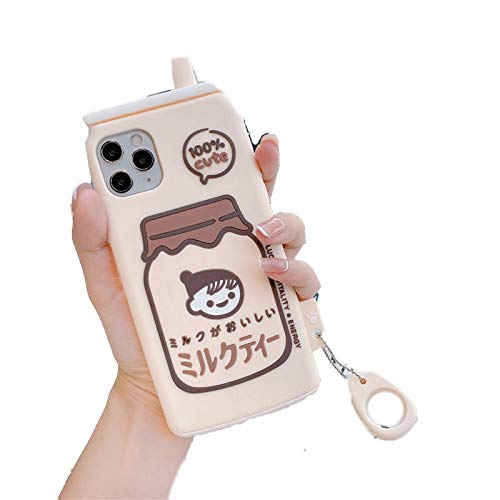 EYDLK 3D Cute Cartoon Japanese Milk Tea Drink Bottle Phone Case for iPhone 12 Mini 11 Pro Max XR X Soft TPU Cover-Beige-for iPhone 12 Mini