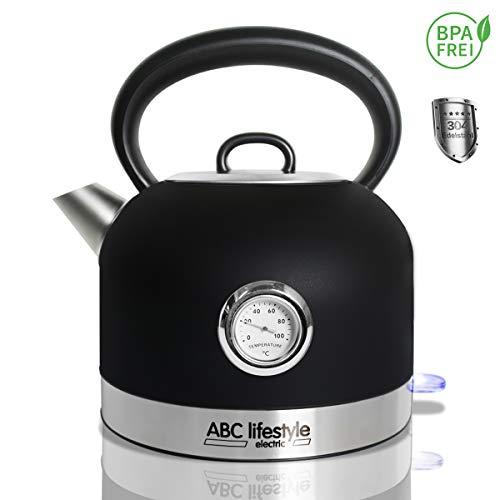 ABC Lifestyle - Wasserkocher Edelstahl Retro Design mit Temperaturanzeige - 1,7 Liter Vintage Retro Edelstahl Teekessel, Cool Touch Griff, Abnehmbarer Kalkfilter