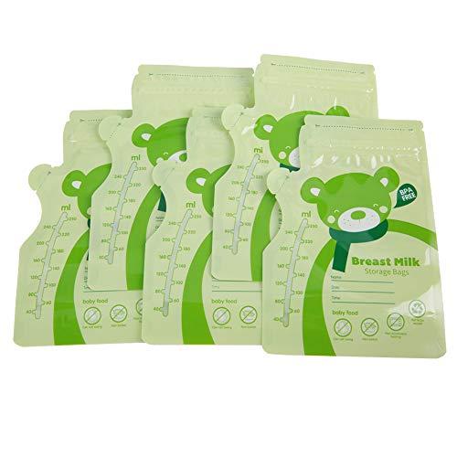 Accesorios para bomba de pecho, diseño de boca de botella, diseño único de sellado para almacenamiento de leche materna seguro 30 piezas para leche materna para uso doméstico (verde)