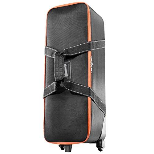 Walimex Pro - Maletín de Transporte con Carretilla o Bolso de Estudio (tamaño S), Negro y Naranja