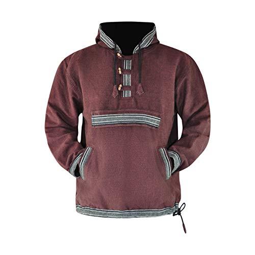 virblatt - Baja Hoodie   100% Baumwolle   Herren Kapuzenpullover Vintage Pullover Hippie Jacke Vintage Kleidung Herren Sphärenhaft L braun